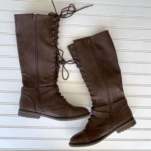 Mossimo Supply Brown tall moto boots Size 11